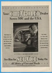 1943 Chevrolet Dealer Chevy Service Department WWII Serves You and The USA Ad