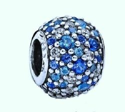 Blues SKY MOSAIC Pave Crystal & CZ 925 Sterling Silver European Charm Bead