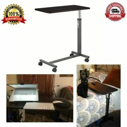 Overbed Table Tray Hospital Bed Rolling Non Tilt Food Cart Desk Silver Vein NEW $60.64