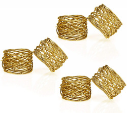 ITOS365 Handmade Gold Round Mesh Napkin Rings Holder for Dinning Table Parties