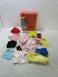 Vintage Pepper Doll by Ideal Toy Corp w Carrying Case & Several Outfits