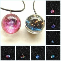 Dreamy Crystal Ball Glass Galaxy Nebula Stars Universe Space Pendant Necklace