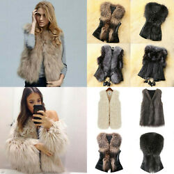 Women Winter Faux Fur Jacket Warmer Shaggy Outwear Cardigan Coats Vests Stylish