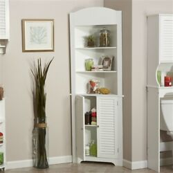5 Shelf Bathroom Linen Tower Closet Corner Storage Cabinet 3 Open Shelves White