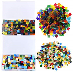 800 Pieces Mixed Color Mosaic Tiles Stained Transparent Glass Mosaic for DIY NEW