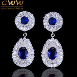 CWWZircons White Gold Cubic Zirconia Blue Stone Round Dangle Drop Party Earrings