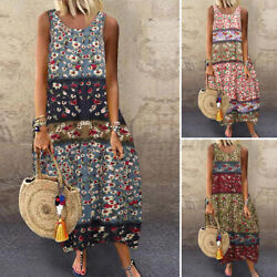 ZANZEA Women Floral Print Baggy Long Shirt Dress Sleeveless Summer Tank Dress $14.71