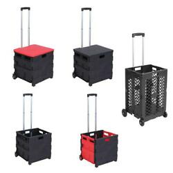 Durable Portable Folding Trolley Rolling Shopping Utility Cart Basket Black/Red $22.99