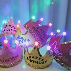 Christmas LED Glowing Crown Cap Kid Birthday Party Adult King Princess Crown Hat