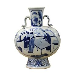 Chinese Blue White Porcelain People Graphic Oval Flat Body Vase ws375