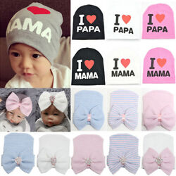 Infant Baby Boy Girl Striped Soft Cap Hospital Newborn Knit Bow Knot Beanie Hat