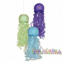 MERMAID WISHES DELUXE JELLYFISH PAPER LANTERNS 3 Birthday Party Supplies $12.99
