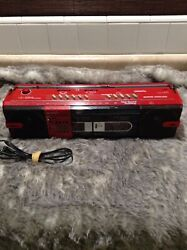 VINTAGE 80's ReD SHARP STEREO RADIO CASSETTE PLAYER WQ 572R - WORKING