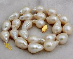 New12-15MM WHITE SOUTH SEA BAROQUE PEARL NECKLACE 18
