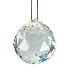 FENG SHUI HANGING CRYSTAL BALL Clear Faceted Sphere Sun Catcher Rainbow Prism $14.95