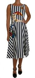 DOLCE & GABBANA Dress Beach Blue White Striped Embroidered IT42US8M RRP $4400
