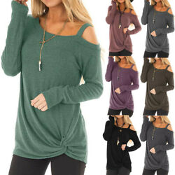 Womens Soft Cold Shoulder Blouse Long Sleeves Crew Neck Tops Tie Knot T-Shirt