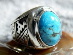 Mens Sterling Silver Kingman Turquoise Ring Navajo  Lorenzo James Size 10 14
