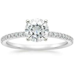 Moissanite Diamond Ring 18K White Gold Luxe 6mm Round Colorless D-F Solitaire