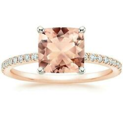 Peach Morganite Diamond Ring 14K Rose Gold Luxe Cushion 7mm Solitaire Jewelry