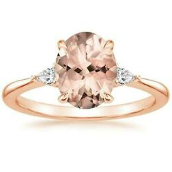 Peach Morganite Diamond Ring 14K Rose Gold Aria Oval 9x7mm Solitaire Jewelry