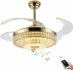 Bluetooth Retractable Ceiling Fan Light Lamp Remote Dimmable LED Chandelier $152.99