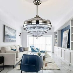 42quot; Silver Invisable Ceiling Fan Lamp Remote LED Crystal Lighting Chandelier $170.99