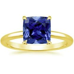 Blue Sapphire Ring 18K Yellow Gold Elodie 7mm Cushion