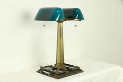 Emeralite Antique Partner Desk Double Banker Lamp Green Shades #31811