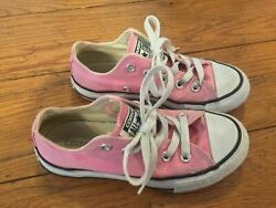 Converse All Star Girls Size 12 Pink Canvas Sneakers Tennis Shoes 3 $17.95