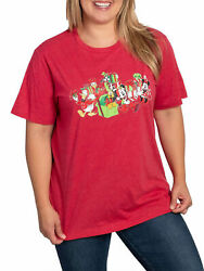 Disney Women#x27;s Mickey Minnie Mouse amp; Friends Christmas T Shirt Red Plus Size 1X $9.95