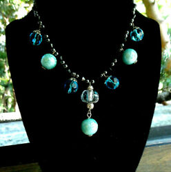 Hematite Blue Faceted Crystal  Black Glass and Aqua Acrylic Beads Necklace