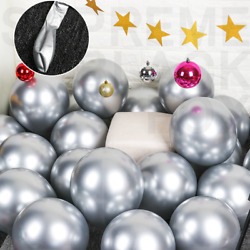 50 Silver Metallic Balloons Chrome Shiny Latex 12 Thicken For Wedding Party Baby $10.99