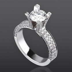 ROUND SOLITAIRE & ACCENTS DIAMOND RING WOMEN 3.15 CT VS 4 PRONGS 14K WHITE GOLD