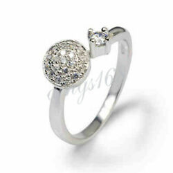 925 Sterling Silver Hypo-Allergenic Crystal Ball Adjustable Open Band Ring Z995
