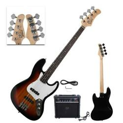 New Sunset Glarry Electric Jazz 4 Strings 22 Frets Electric Bass Guitar with AMP $99.95
