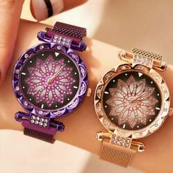 U S Women Fashion Watch Starry Sky Crystal Magnetic Stainless Band Wrist Watch