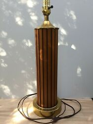 Vintage Mid Century Modern Wood Table Lamp