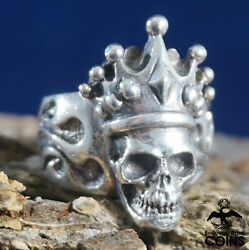 King Baby Sterling Silver (.925) Crowned Skull Ring (Size 9.5)