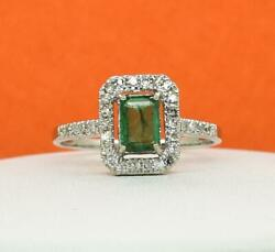 $1499 SOLID 14k White Gold 1.30ctw Colombian Emerald & G-SI Diamond Ring 3.1g