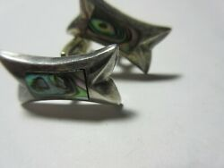 VINTAGE SILVER .925 ABALONE CUFF LINKS mARKED MEXICO