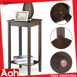 High footed Chair Side Table Narrow End Table Hidden Storage Small Spaces Coffee $42.99