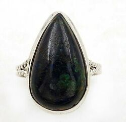 Azurite In Chrysocolla 925 Solid Sterling Silver Ring Jewelry Sz 8.5 C15-6