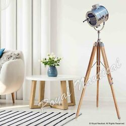 DESIGNER TRIPOD WOODEN NAUTICAL SEARCHLIGHT HOME DECOR FLOOR LED E27 BULB LAMP GBP 189.99