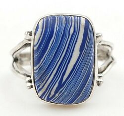 Natural Azurite 925 Solid Sterling Silver Ring Jewelry Sz 6.5 C30-1