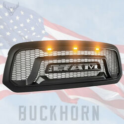 Fit For 2013-2018 Dodge Ram 1500 Mesh Grille Rebel Style Front Grill Hood LED US