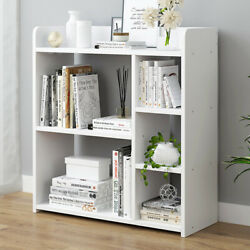 5-Shelf White Wooden Geometric Bookshelf Cube Display Storage Organizer Cabinet