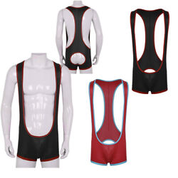 Sexy Mens Stretch bodysuit Patent Leather open butts Wrestling Underwear Leotard