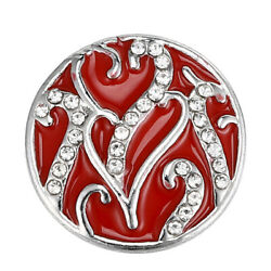 Fashion 3D Rhinestone 18mm Red Heart Ginger Snaps Chunk Charm Button Jewelry