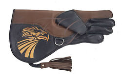 FALCONRY COWHIDE LEATHER GLOVES WITH EMBROIDERY LOGO L 13 INCH $34.99